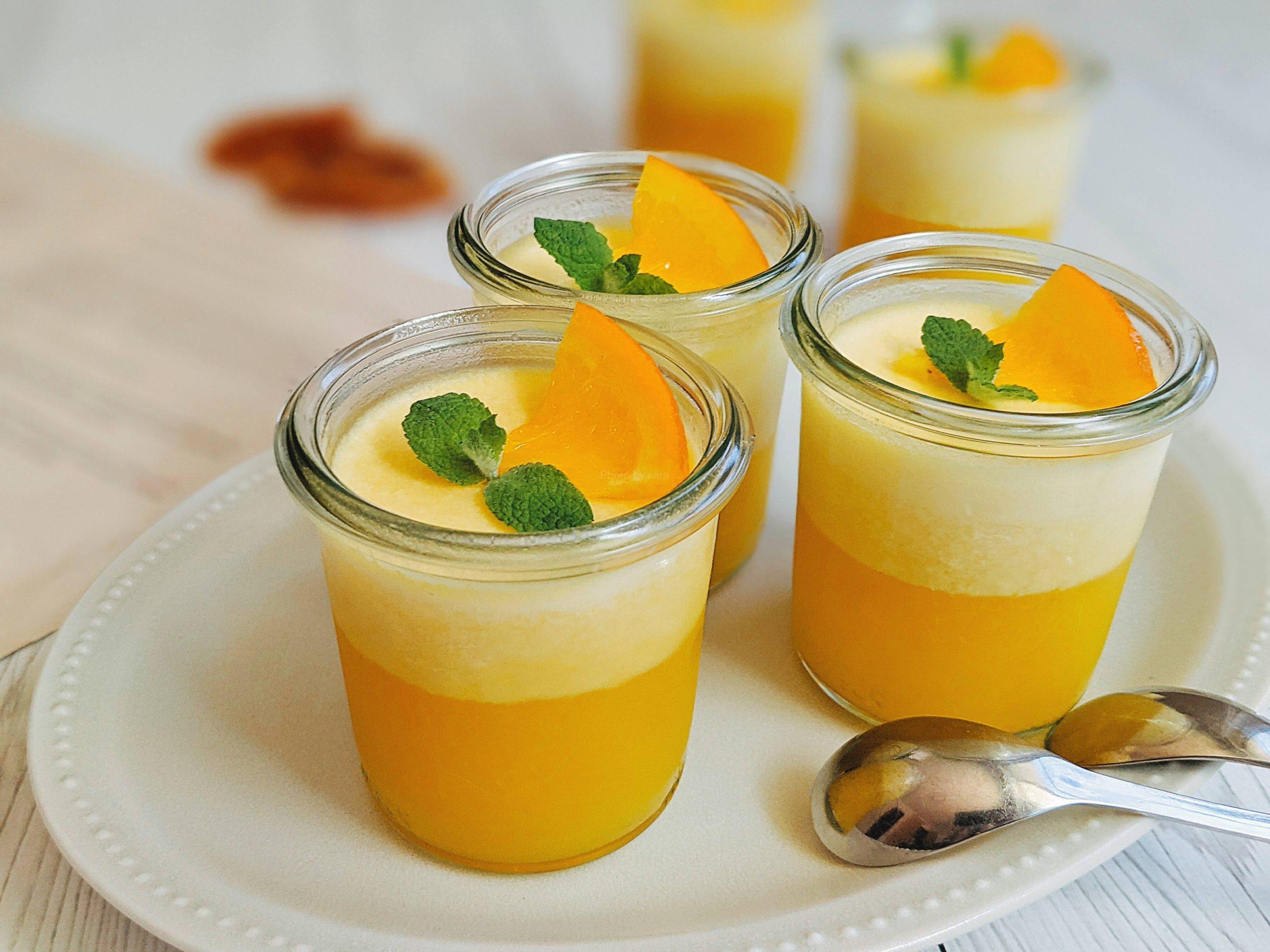 2層のゼリー オレンジゼリー 簡単レシピ 夏